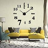 Reloj de pared 3D DIY moderno, espejo adhesivo, reloj de pared grande, números romanos, reloj de pared para decoración, regalo para casa, oficina, restaurante y hotel (negro)