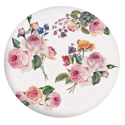 Mantel elástico resistente a las manchas, estilo vintage floral con rosas inglesas, estilo botánico, natural, para mesas redondas de 24 pulgadas, para comedores y cocinas