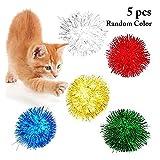 LIRUIQI 5 unids/Set Color sólido Gato Bolas de Chispa Juguetes Brillo Pom Pom Pom Gato Juguete Pelota interactiva Juguetes Suministros para Mascotas Color Aleatorio
