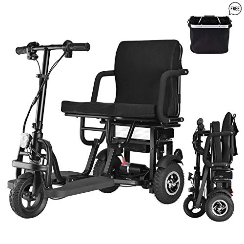 New 2021 Scooter Mobility Folding Electric Mobility Scooter 3 Wheel Lightweight Portable Power Travel Scooters - Support 120kg Weight Only 27kg Long Range(19km)
