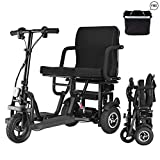 WISGING Folding Electric 3-Wheel Mobility Scooter Lightweight Portable Power Travel Scooter - Support 280 lbs Weight Only 58 lbs Long Range(18.6 Mile)