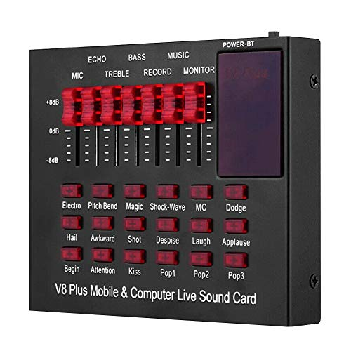 Fayeille V8 Live Soundkarte, tragbarer mobiler Audio-Mixer, Dual Channel, für Live Broadcast, K Songs, Aufnahme, Voice Chats, nicht null, Cg25877a1, Free Size