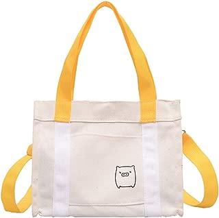 Outique Canvas Tote Bag with Pocket Adorable Large Bag,Fashion Lady Pig Color Matching Wild Handbag Shoulder Messenger