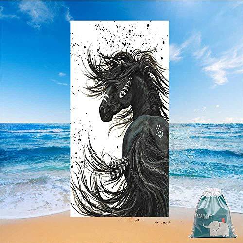 Fansu Toalla de Playa Secado Rapido Microfibra Absorción Estampado Animal de Caballo 3D, Rectangular Multi-Funcional para Toalla Baño Mantel Nadar Deportes Decoración (Líder,150 * 180cm)