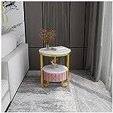 KHUY Mesillas de Noche Dormitorio con Cajones, Marco de Metal de Oro Mesitas de Noche Mesas Auxiliares de Salon Modernas Redonda, Mesitas Auxiliares para Salon Sofa (Color : Pink B)