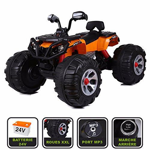 Cristom  Monster Quad électrique 24V pour Enfant Connexion MP3 - MODELE XXL (Orange)