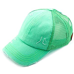 C.C Hatsandscarf Exclusives Washed Distressed Cotton Denim Ponytail Hat Adjustable Baseball Cap (BT-13) (Mint)