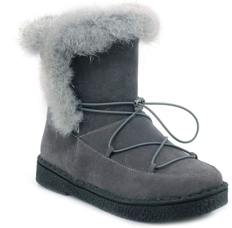 Exclusive shoesbox Womens Winter Fur Snow Ankle Boots Suede Waterproof Flat Low Heel Elastic Boots Warm Snow Short Bootie