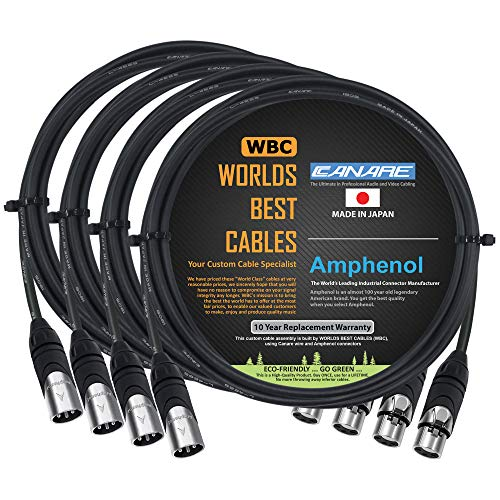 4 Units - 4 Foot - Canare L-4E6S, Star Quad Balanced Male to Female Microphone Cables with Amphenol AX3M & AX3F Silver XLR Connectors - Custom Made by WORLDS BEST CABLES