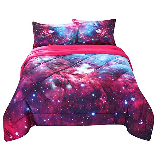 Wowelife Galaxy Comforter Blue and Hot Pink Queen 3D Galaxy Queen Bed Set Colorful 5 Piece with Print Comforter for Adults and Teens(Queen,Hot Pink Galaxy)