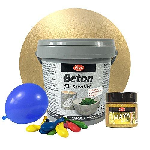LM-Kreativ 1,5 kg Beton Windlichter Set (Champagner) Metallic Beton-Set für kreative Windlichter, Beton für Kreative, Windlichter, Schalen, Bastelbeton, Gießbeton, Maya Gold Viva Decor