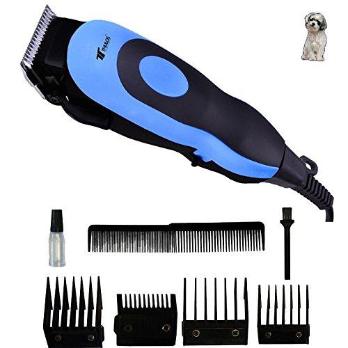 Cortapelos profesional Thulos para mascotas | 4 Peines: 3, 6, 9, 12mm | Incluye peine de barbero, cepillo de limpieza y aceite lubricante | Color azul