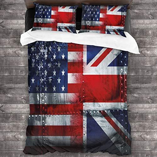 Set di biancheria da letto in 3 pezzi, tema Alliance Togetherness, composto da copripiumino vintage con bandiere del Regno Unito e degli Stati Uniti, in morbida microfibra, 1 copripiumino (21,6 x 177,8 cm) e 2 federe (50 x 76,2 cm).