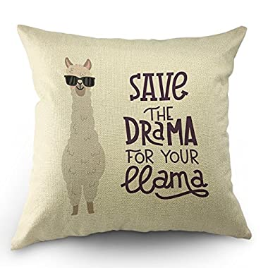 Llama Pillow Case Cute Alpaca with Glasses with Lettering Quote Save the Dream For Your Llama Throw Pillow Case 18  x 18  Inch Cotton Linen Cushion Cover for Men Women Kids White