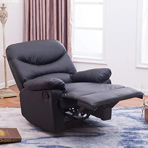 ADHW Padded Plush Recliner Living Room Reclining Chair TV Living Room, Black/Brown (Color : Black)