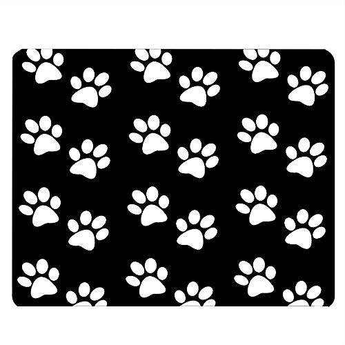 Nicokee Dog Paw Gaming Mousepad Dog Paw Prints Black White Mouse Pad Mouse Mat for Computer Desk Laptop Office 9.5 X 7.9 Inch Non-Slip Rubber
