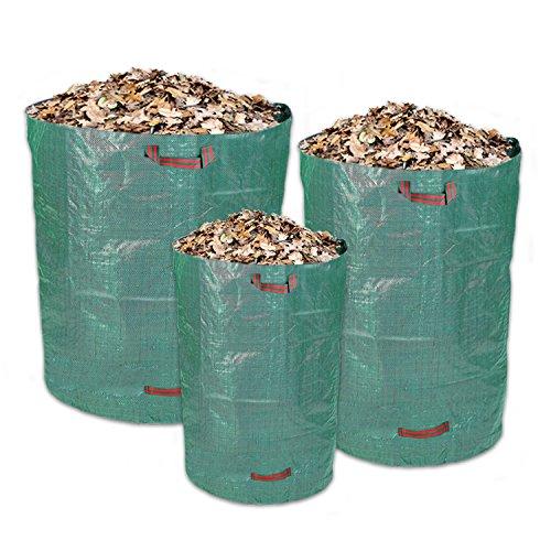 Schramm® 3 Stück Gartensäcke bestehend aus 1x 160L, 1x300L und 1x 500L Robustes Polypropylen Gewebe PP Gartensäcke