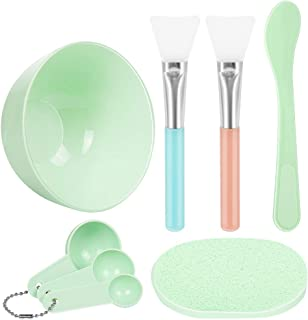 Face Mask Mixing Bowl Set, Teenitor DIY Facemask Mixing Tool Kit with Silicon Face Mask Brush Facial Mask Bowl Stick Spatula Gauges Puff, Pack of 8, Green
