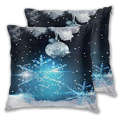 BROWCIN 2 pack Funda de Almohada Feliz Navidad Temporada Víspera Regalo de año nuevo Bola de plata de copo de nieve azul pálido brillante Lino Suave Cuadrado Sofá Cama Decoración Hogar para Cojín 30cm