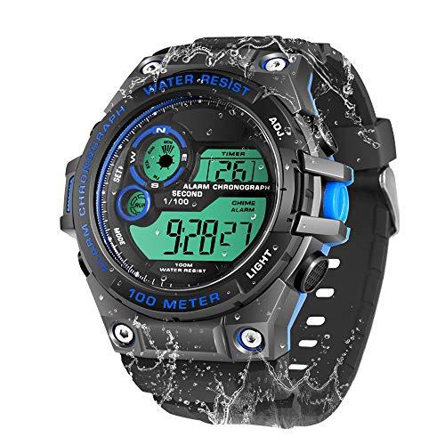 100m Bajo el Agua Reloj de Pulsera Submarinismo para Hombres Niños con Funciones de Cronómetro, Cronógrafo, Alarma, Zona Horaria Dual, Formato de 12/24 Horas