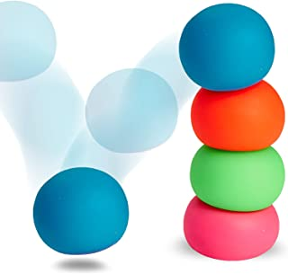 Kicko Sensory Stretch Bounce Ball, Stress Squishy therapy Ball - Pack of 4 Cool and Fun Assorted Colors therapeutic Stress...