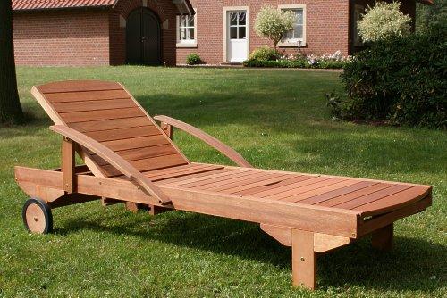 Hecht Gartenliege ERA | rollbare Sonnenliege mit Verstellbarer Rückenlehne und ausziehbarer Ablage | Holzliege aus…