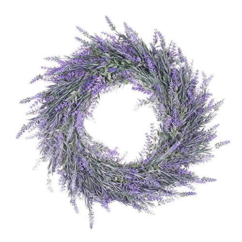 #N/A Lavendel Türkranz Frühling Sommer, Türkranz Ganzjährig, Künstliche Lavendel Kranz Deko, Dekokranz Wandkranz für Hochzeit Party Garten Tür Fenster Kamin Wand, 18 inch