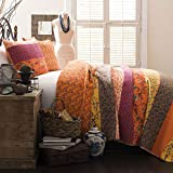 Lush Decor Royal Empire Quilt Striped Pattern Reversible 3 Piece Bedding Set, Full/Queen, Tangerine