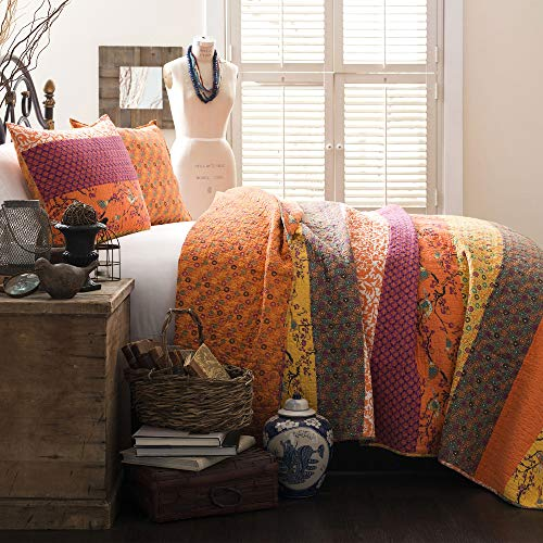 Lush Decor Royal Empire Quilt Striped Pattern Reversible 3 Piece Bedding Set, King, Tangerine