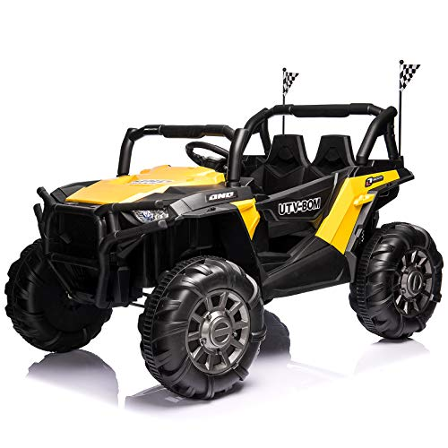 Aneken 12V Electric Ride on Cars, 2-Seater Kids Ride-On Car Off-Road UTV Truck Toy with Parental Remote Control, Suitable for Various Terrain, 3 Speeds, Spring Suspension, Music, LED Light (Yellow)