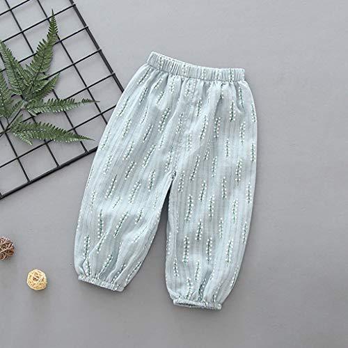 Janly Clearance - Pantalones para niños de 0 a 5 años de edad, pantalones de linternas para niños de algodón fino cáñamo aire acondicionado pantalones para niños pequeños, azul, 12-18 meses