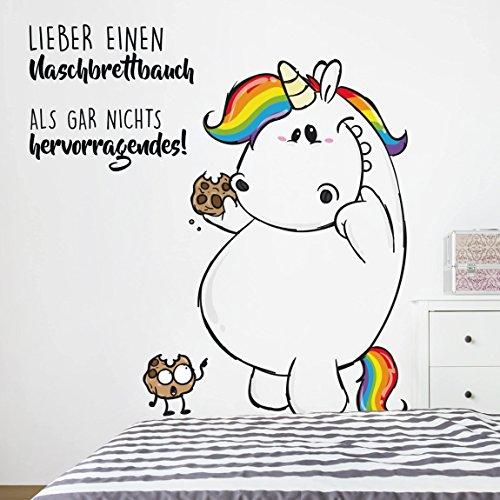 Bilderwelten Wandtattoo Pummeleinhorn Naschbrettbauch, Sticker Wandtattoos Wandsticker Wandbild, Größe: 60cm x 60cm