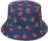 Sombrero de Pescador de Fresa para Adulto Sombrero de Pescador de Playa de Viaje con Estampado Rosa Sombrero de Pescador de Doble Cara de ala Ancha para Mujer 's Men' s-Azul Marino Fresa