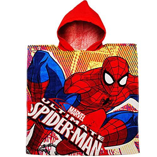 alles-meine.de GmbH Badeponcho / Kapuzenhandtuch - Spider-Man - 100 % Baumwolle - 60 cm * 120 cm - 2 bis 8 Jahre Poncho - mit Kapuze - Frottee / Velours - Handtuch Strandtuch - J..