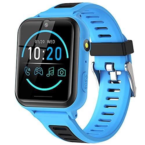 Smartwatch Bambini - Smartwatch Telefono per Bambini con SOS 14 Giochi Musica Fotocamera Cronometro Sveglia Calcolatrice Calendario Torcia, Regali per Ragazzi e Ragazze 4-12 Anni (Blu)