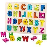 Mopoq アルファベットパズルゲームおもちゃセット、ABCのアルファベットカード木製初期の子供の教育玩具両面単語パターン認知カードは、語彙を開発し、子供の幼児のためのスキルのおもちゃスペル