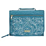 Faith Badge Teal Rose Floral Bible Cover for Women | Medium Zippered Tri-Fold Organizer Case for Bible or Book w/Handle, Canvas