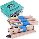 Confezione di cartucce toner compatibili Oki C332 per stampanti C332dn C332dnw MC363dn MC363dnw MC363n MD363dn. Confezione risparmio 4 colori: 1 nero, 1 ciano, 1 magenta e 1 giallo, alta capacità XXL