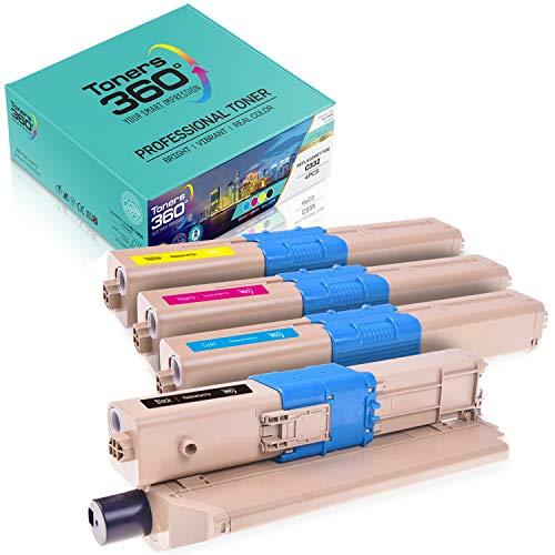 Pack Cartuchos de tóner Compatibles Oki C332 para impresoras C332dn C332dnw MC363dn MC363dnw MC363n MD363dn. Pack Ahorro 4 Colores; 1 Negro, 1 Cyan, 1 Magenta y 1 Amarillo. Alta Capacidad XXL.