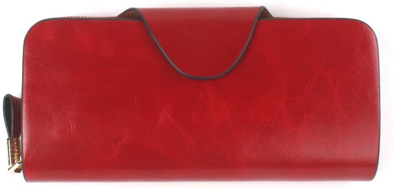 Women's Wallet Unisex Long Leather Wallet Zipper Clutch Bag MultiCard Wallet Splicing Large Capacity Wallet (color   Red, Size   Feer Size)