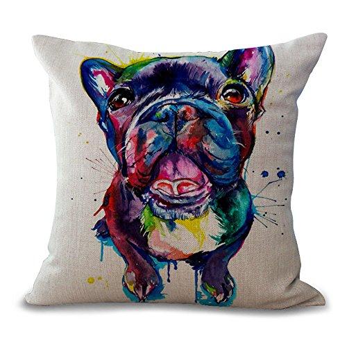 Hengjiang Kissenbezüge 45cmx45cm Hund Serie Niedlichen Cartoon Hund Französisch Bulldog Baumwolle Leinen Kissenbezug
