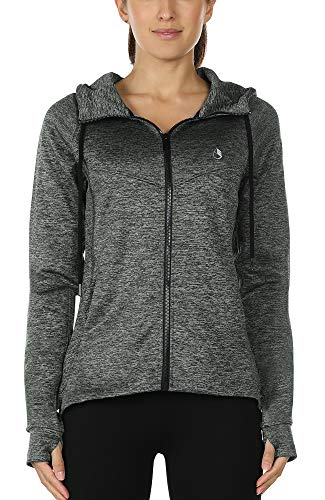 icyzone Damen Sportjacke Laufjacke voll ZipTrainingsjacke mit Kapuze, Fitness Hoodie Langarm Shirt im Winter (XL, Grau)