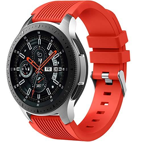 Dirrelo Correa Compatible con Samsung Galaxy Watch 3 45mm/Galaxy Watch 46mm/Huawei GT 2 46mm, 22mm Deportiva Muñequeras Suave Silicona Reemplazo para Samsung Gear S3 Frontier, Hombres Mujeres, Roja