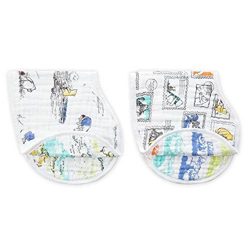 aden + anais - Lot de 2 bavoirs d'épaule burpy bib® prélavés en mousseline 100% coton 57 cm x 28 cm - Imprimé Winnie The Pooh - 0-3 Mois