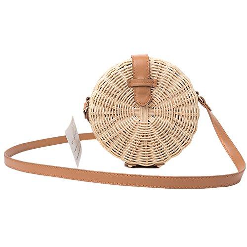 Bolso de hombro tejido de mujer, bolso cruzado de paja Bolsillo redondo de playa de verano y bolso tejido a mano de rattan para playa al aire libre de verano