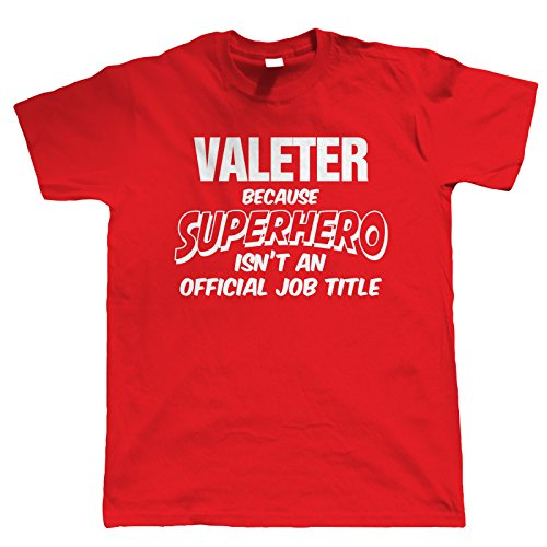 Vectorbomb Valeter Superhero, Mens Funny T-Shirt Small Red