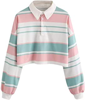 GREFER-Women Casual Blouse Drop Shoulder Striped Crop Pullover Sweatshirt Tops