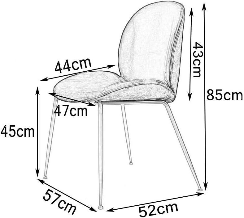 YJT.cy Chaises de Salle à Manger Jambes en métal Noires Chambre Chaise tapissée Coiffeuse Velvet Cushion Salon Chaises de Loisirs Chambre 57 × 52 × 85 cm Gray