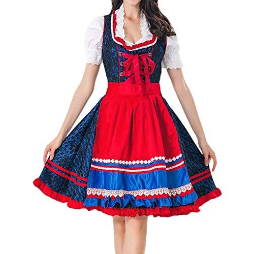 Trachtenkleid Midi Dirndl Kleid Bluse Schürze 3 TLG Set Piebo Damen Rüschen Lace Up Kurzarm Schulterfreies Kleider Halloween Weihnachten Oktoberfest Cosplay Kostüm Fasching Fasnacht Karneval Party