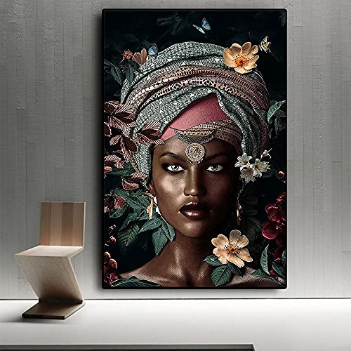 XCSMWJA Cuadro De Lienzo De Mujer Africana Impresiones Artísticas De Pared Decoración Moderna Sin Marco para Habitación del Hogar Imagen Femenina para Interior 60x90cm